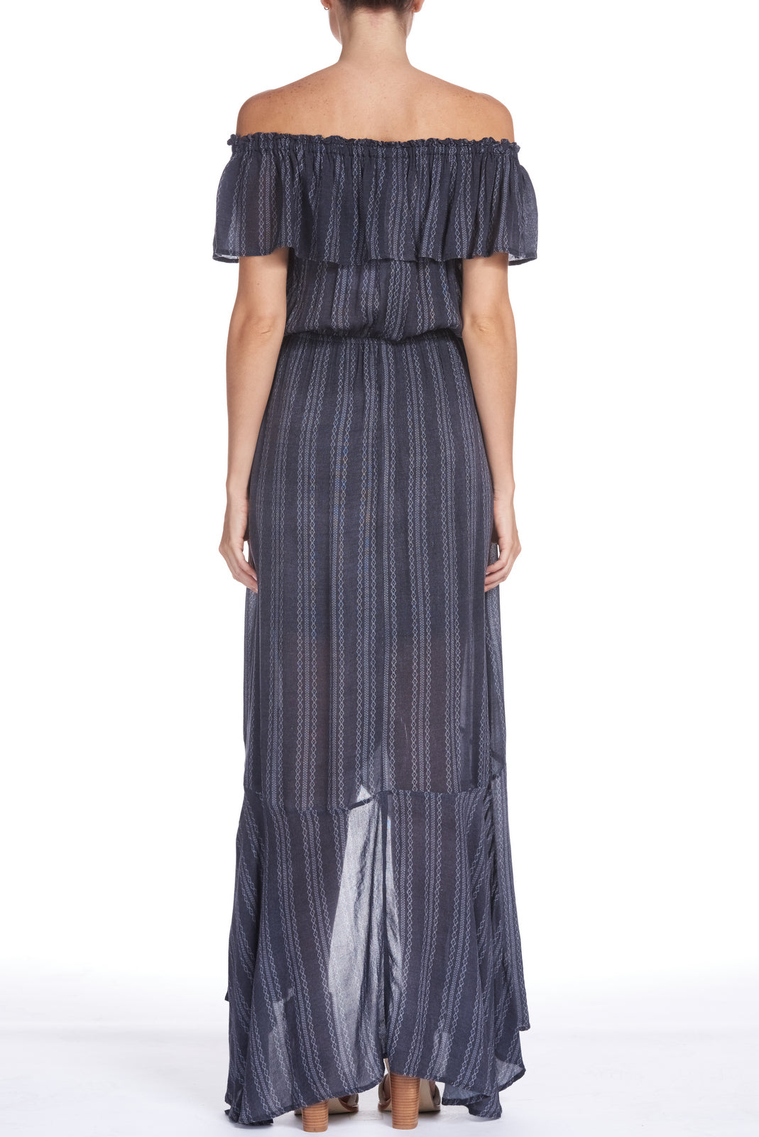 Maxi Dress with Ruffled Top and Wrap Skirt
