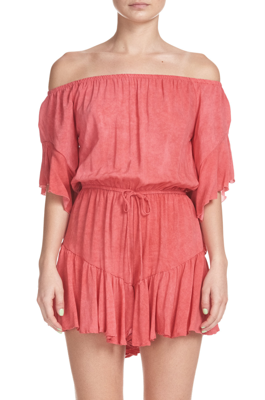 Romper wtih Ruffle Shorts and 3/4 Sleeves