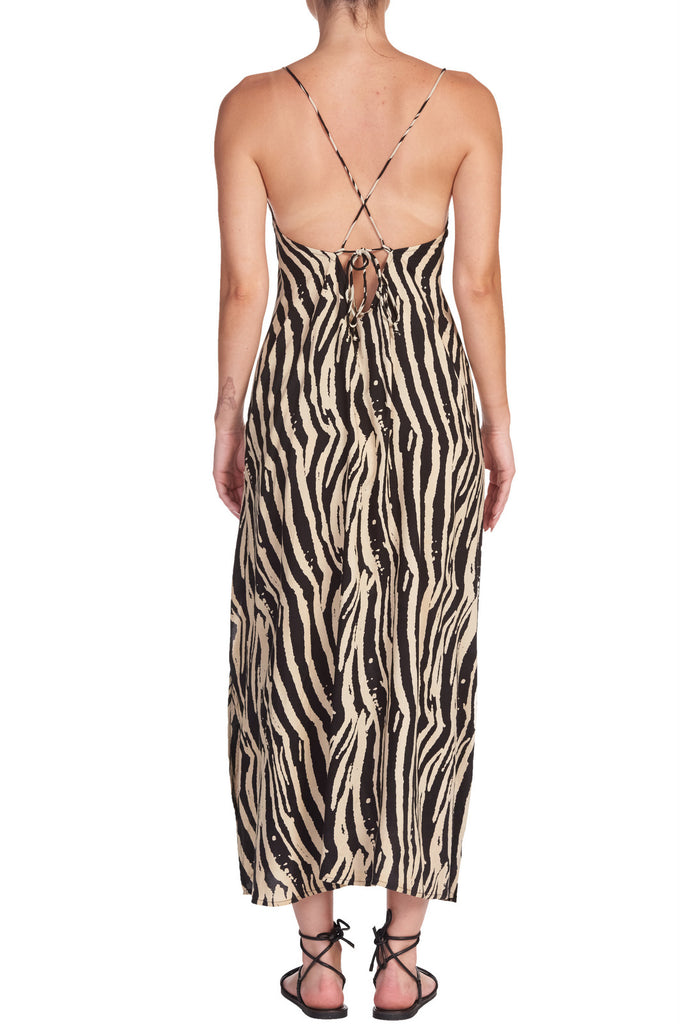 Tan/Black Zebra Print Midi Slip Dress/Coverup