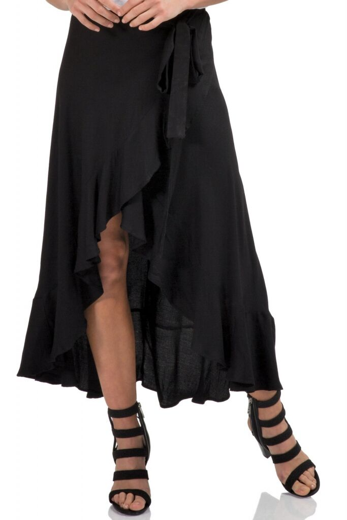 Black Ruffled Wrap Skirt