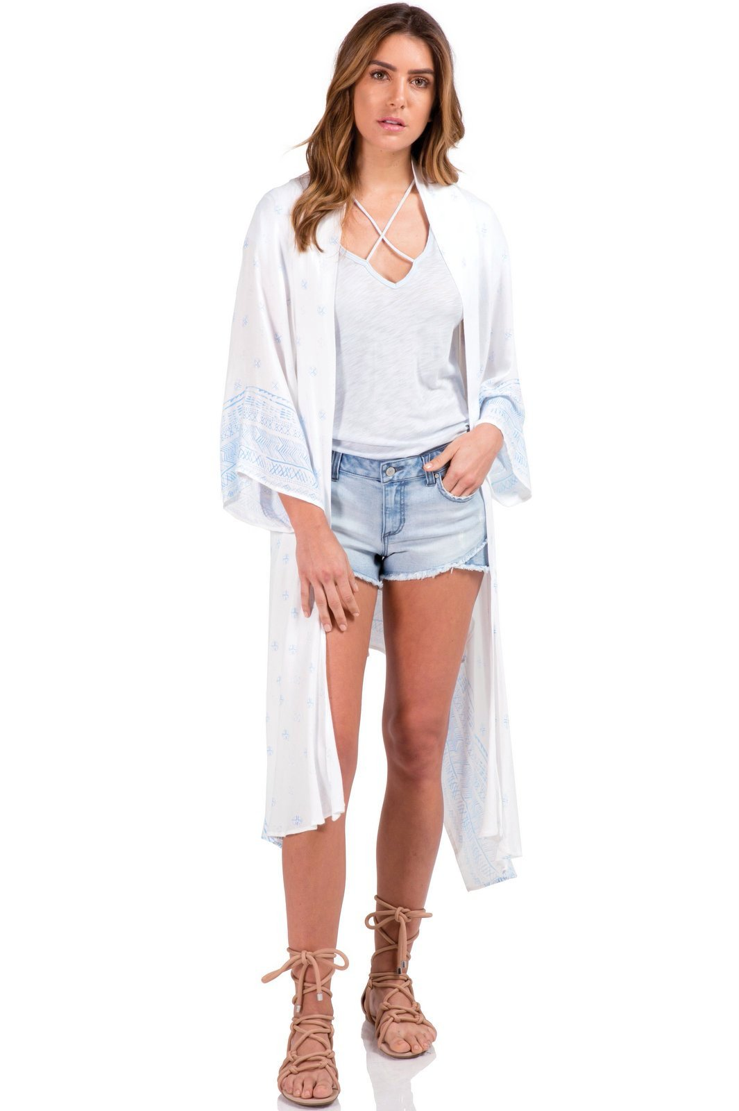 White Long Kimono with Blue Stamped Detailing