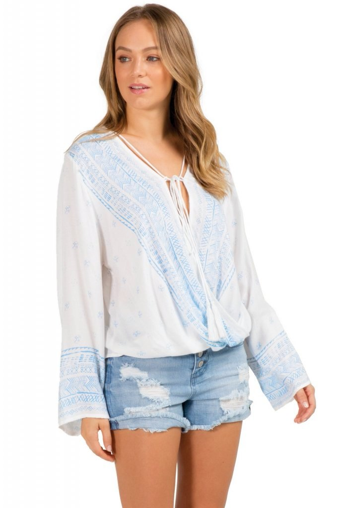 White Long Sleeve Top with Criss Cross Front
