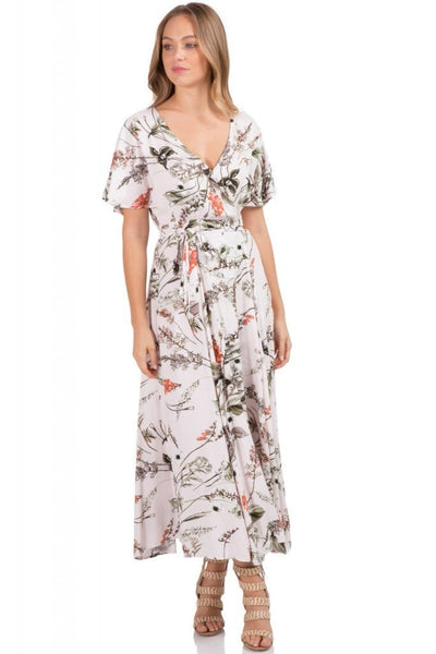 Short Sleeve Maxi Dress with Tie Wrap