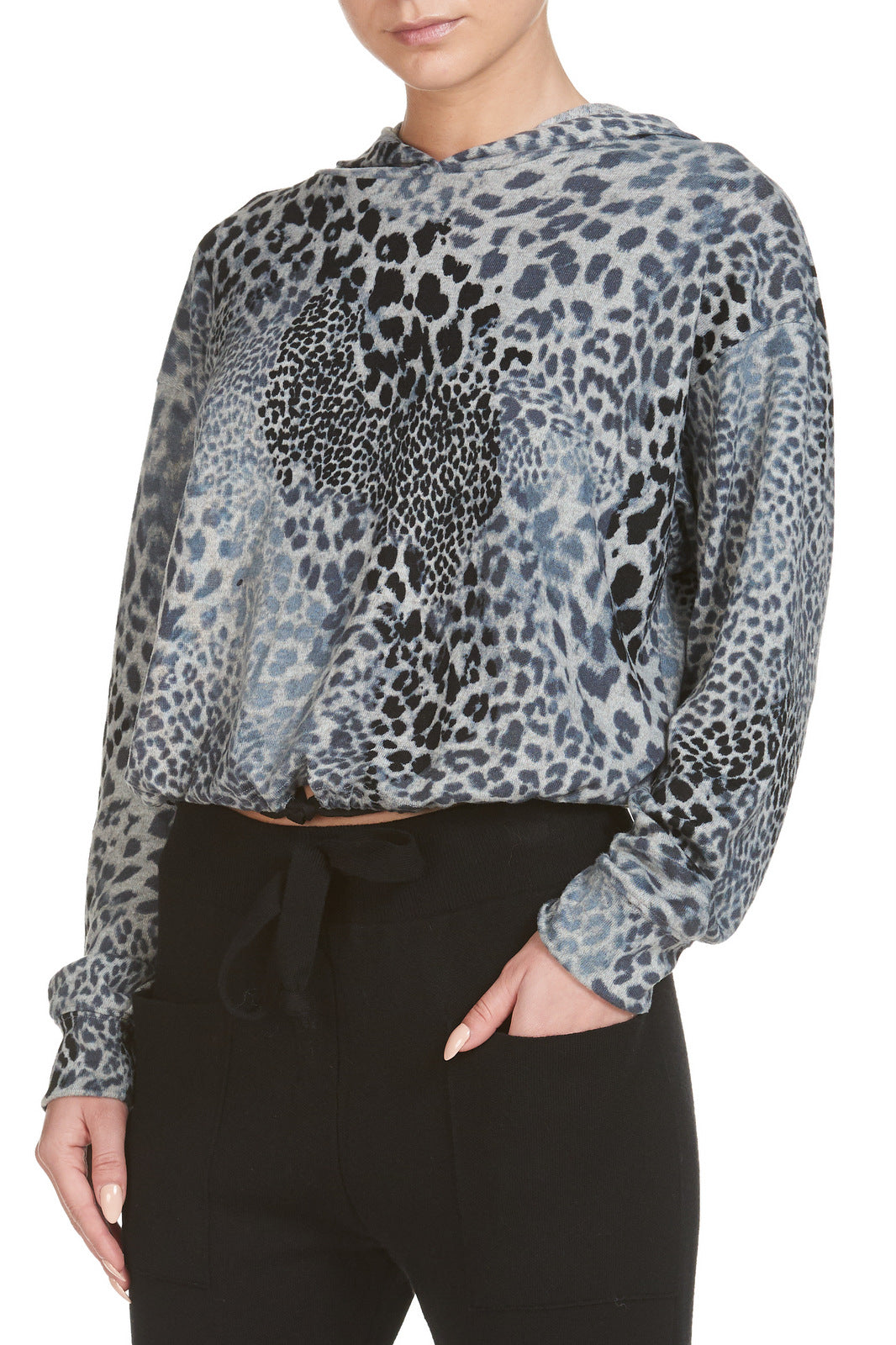 Leopard Hooded Sweatshirt with Tie Waist