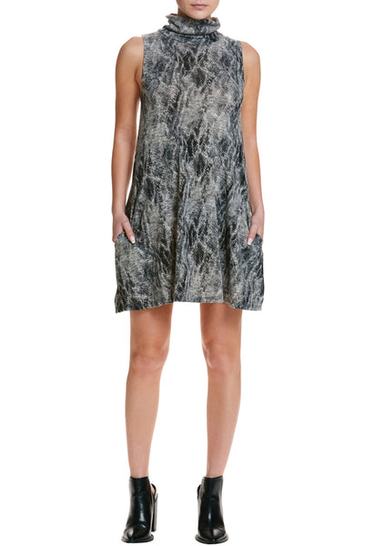 Sleeveless Snakeskin Print Turtleneck Dress