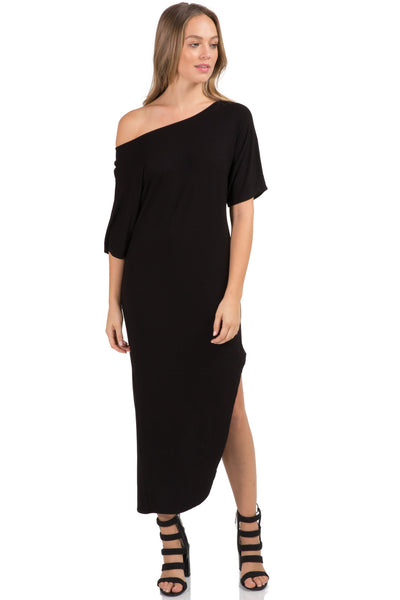 Black Midi Dress with Side Slit