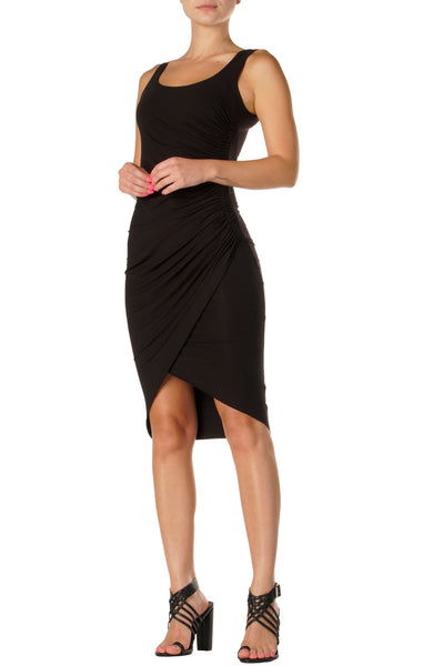 Black Ruched Tank Dress