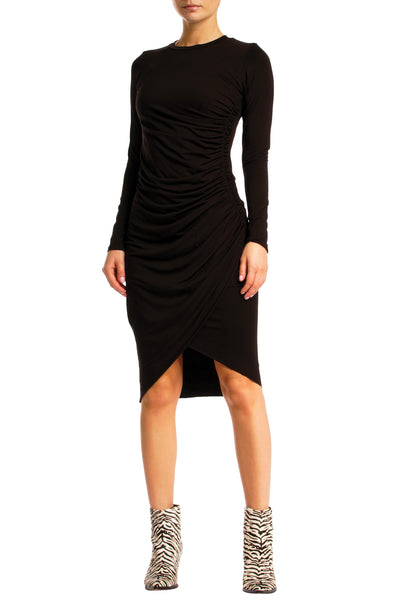 Black Long Sleeve Dress with Side Cinch