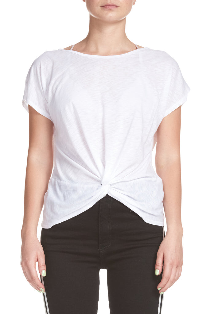 Short Sleeve Top with Twist Front