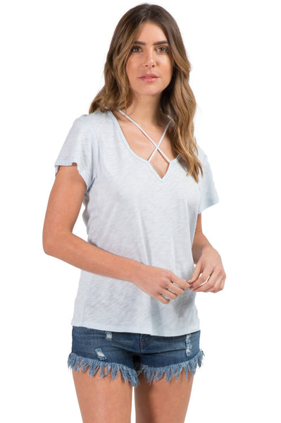 Short Sleeve Top with X Neck