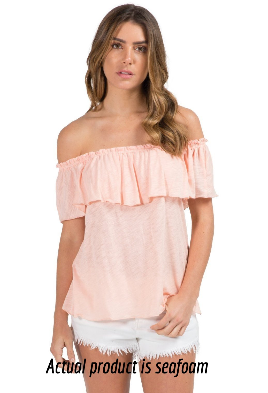 Off the Shoulder Ruffled Neck Top