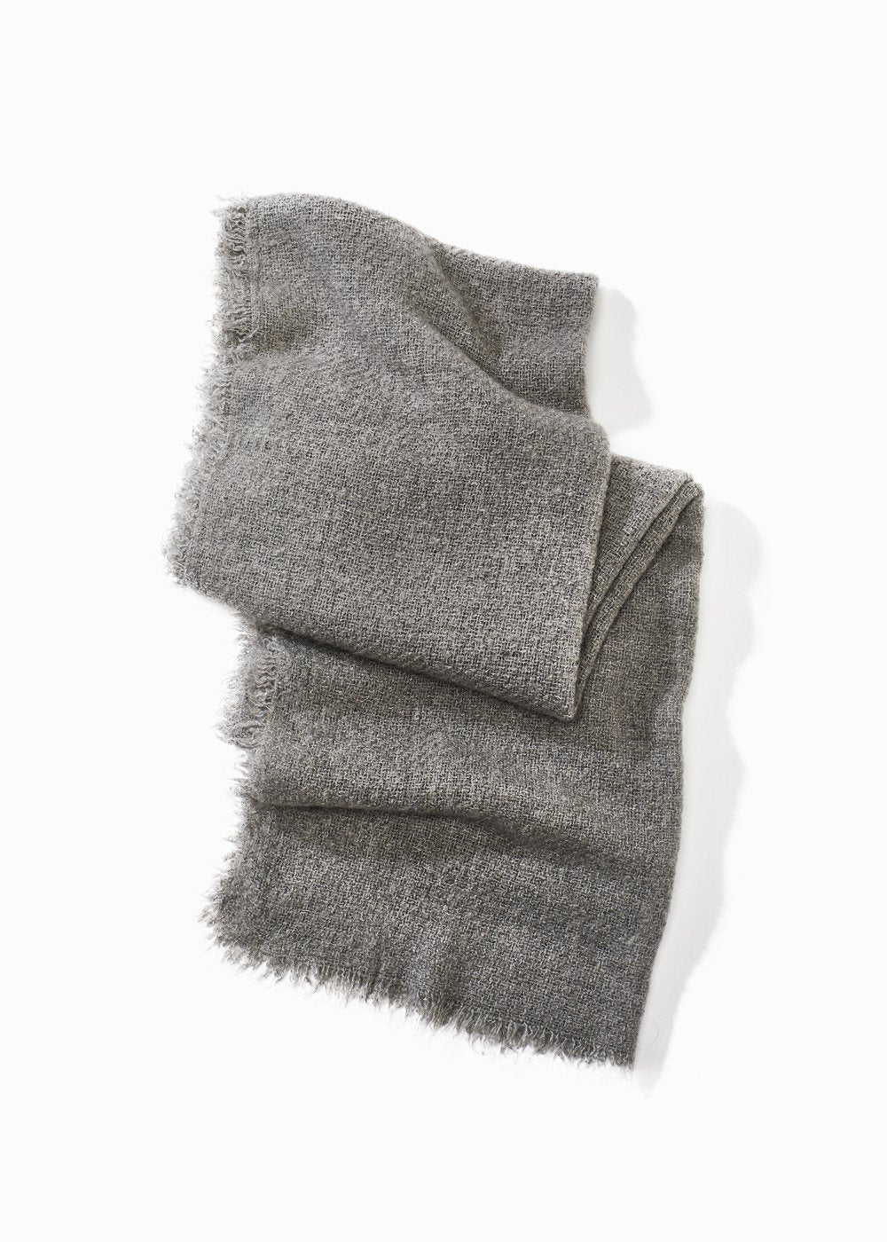 Charcoal Grey Raw Fringe Scarf