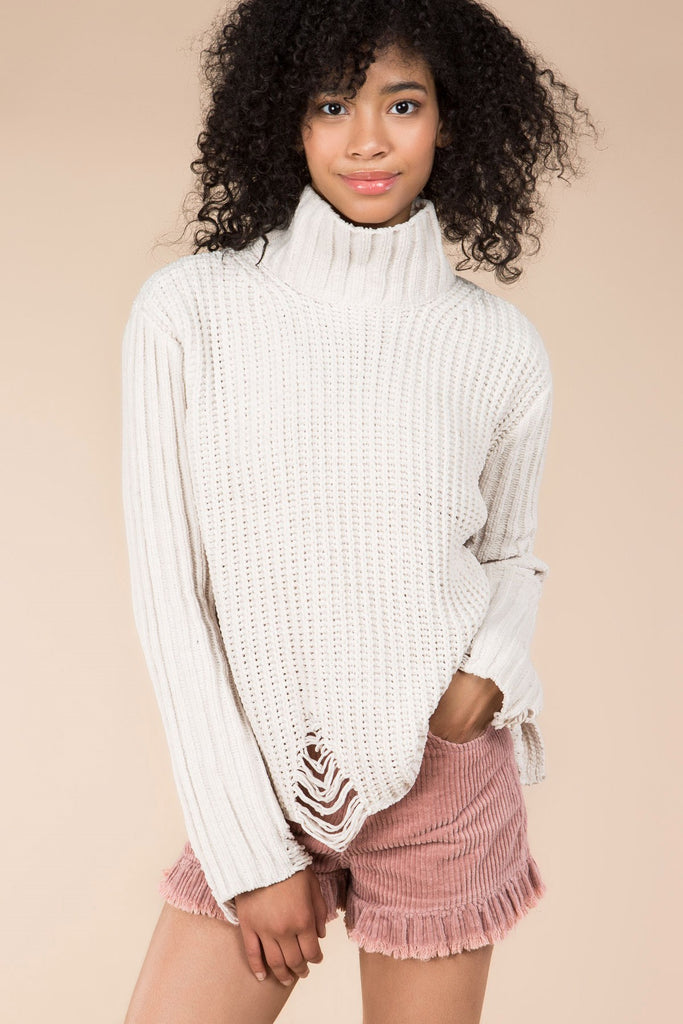 Ivory Distressed Turtleneck Sweater