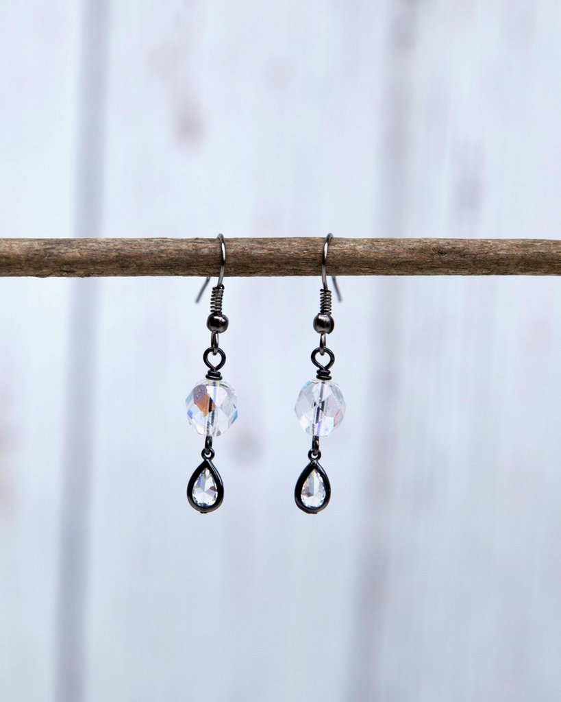 Double Stack Iridescent Crystal Teardrop Earrings