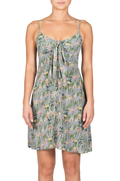 Grey Floral Dress With Tie Front