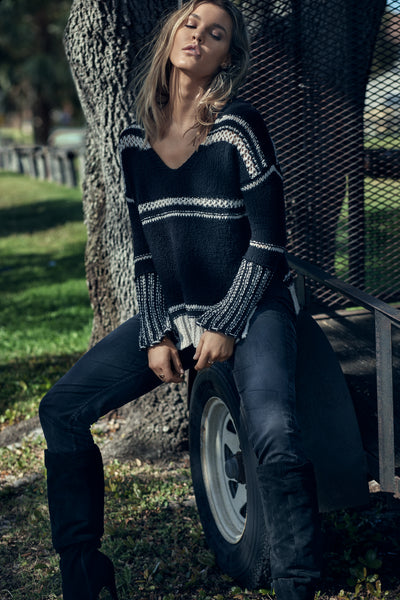 Black V-Neck Sweater with Crochet Detailing