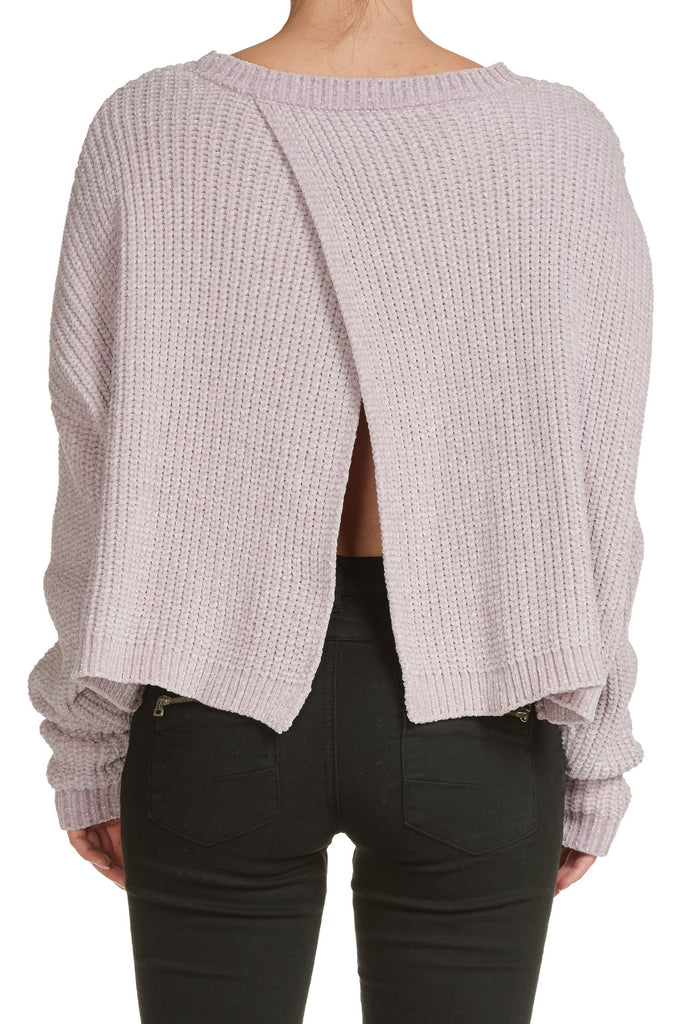 Lavender Crew Neck Sweater with Crossback