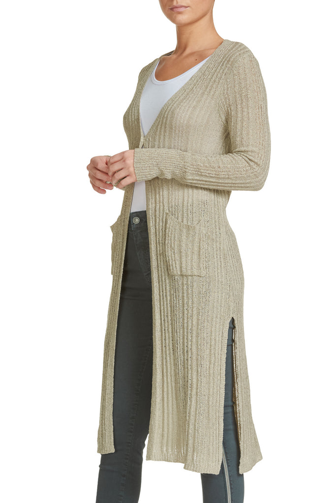 Long Lightweight Cardigan with Front Pockets