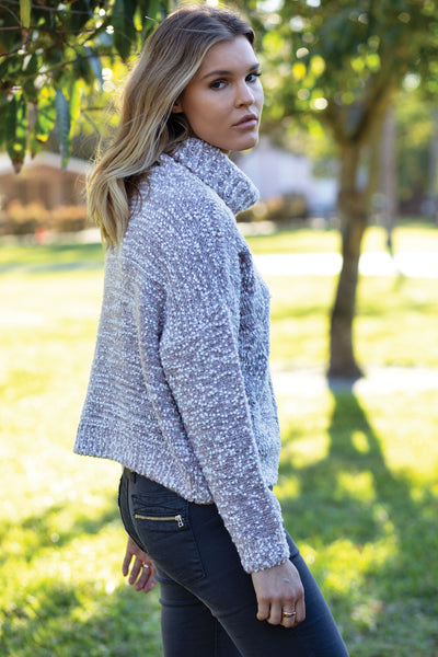 Turtleneck Sweater with Cable Front Detail