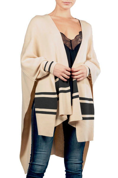 Tan w/ Black Stripes Cardigan Poncho