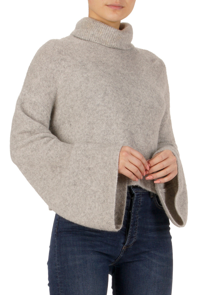 Cropped Turtleneck Sweater with Bell Sleeves
