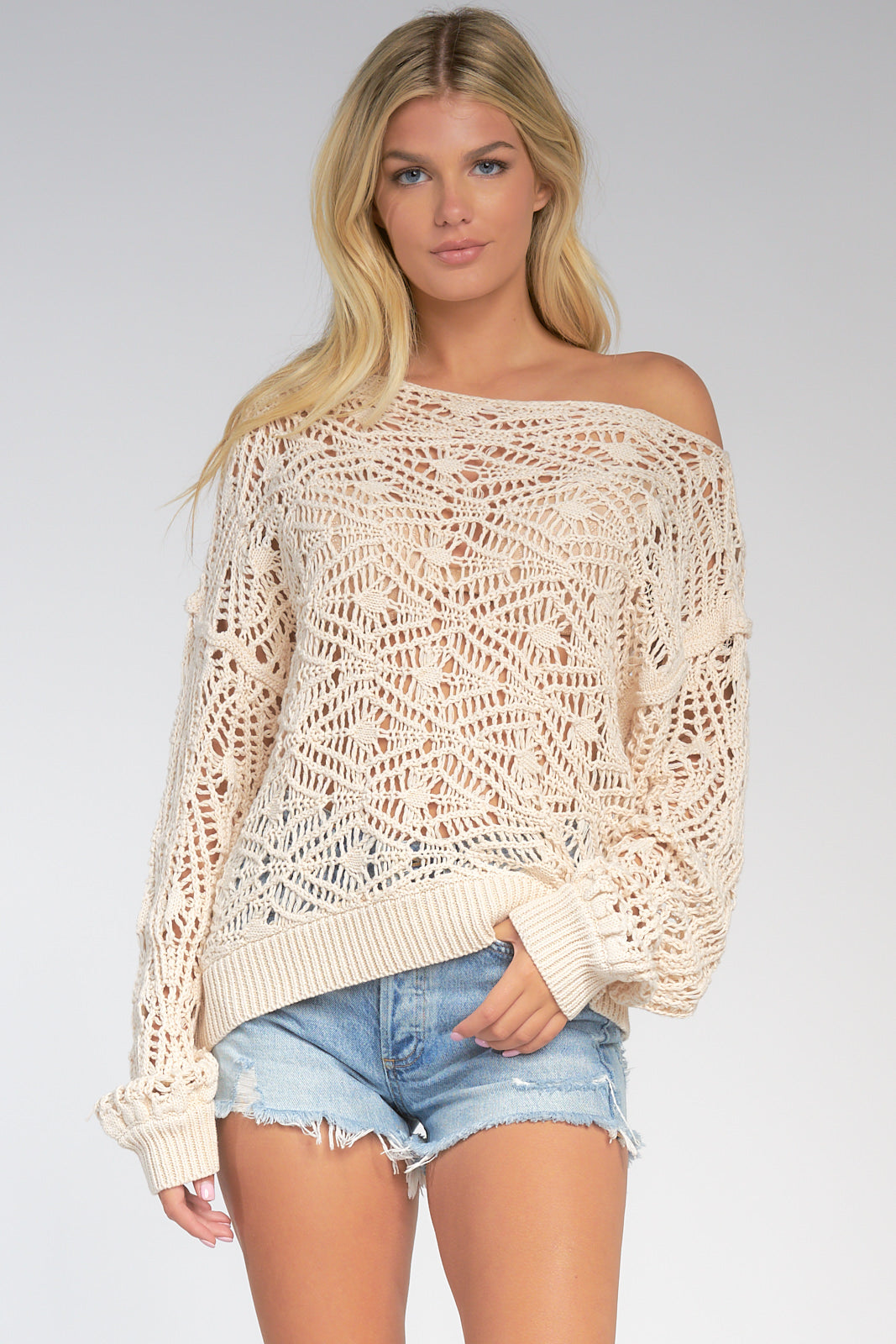 Cream Loose Knit Off the Shoulder Sweater