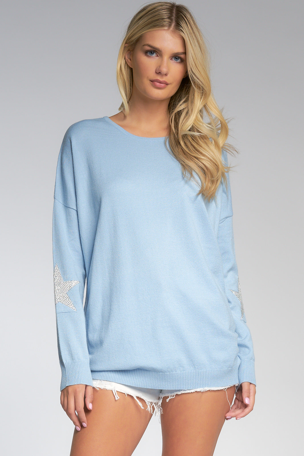 Dusty Blue Oversized Sweater with Silver Stars