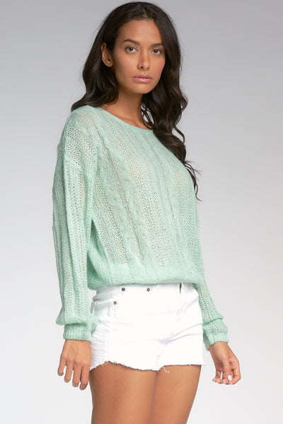 Seafoam Green Lightweight Cable Sweater