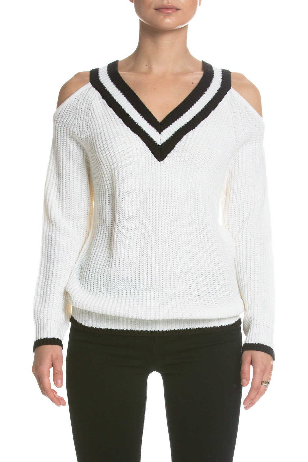Ivory and Black Cut Out Varsity Sweater