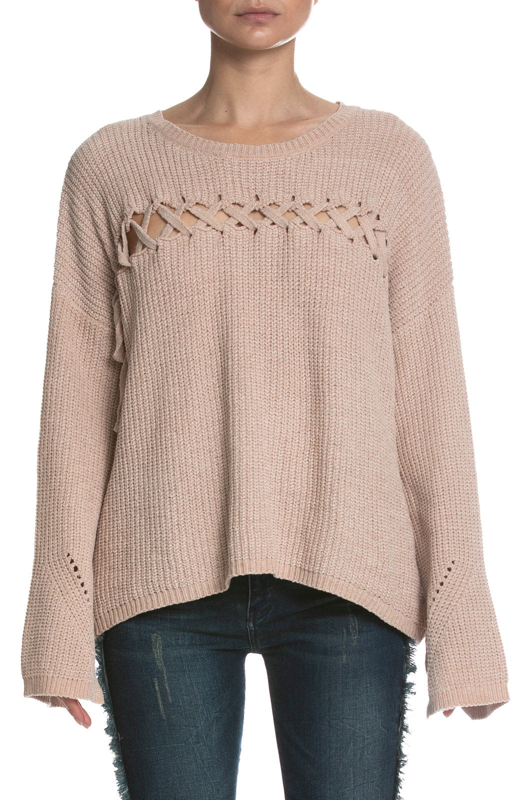 Terracotta Chenille Sweater with Lace Up Stitching
