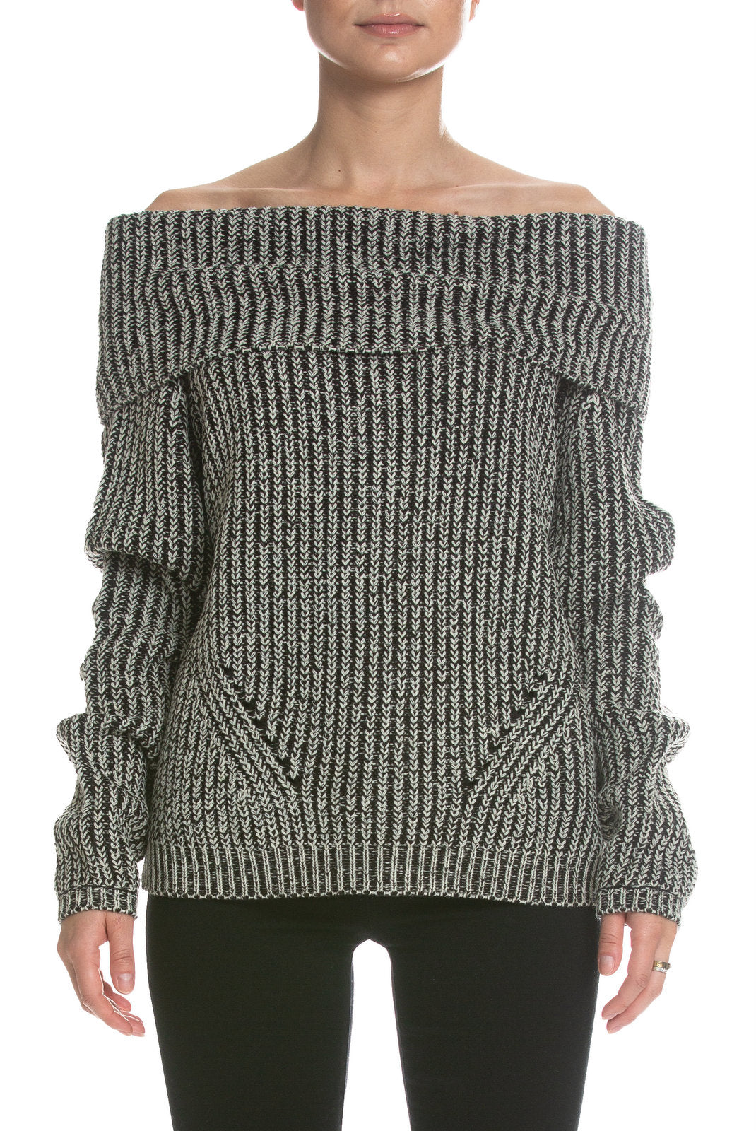 Black And Ivory Off The Shoulder Sweater At The Maria Vincent