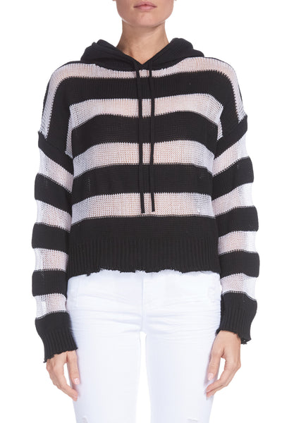 Striped Cropped Sweater with Hood