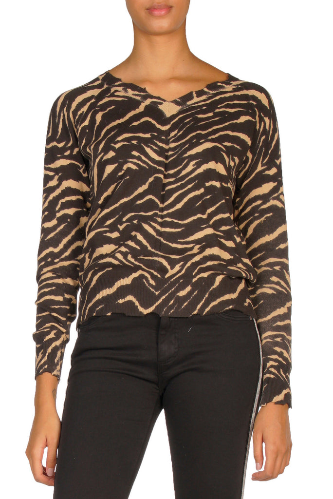 Black and Tan Zebra Print V-Neck Sweater
