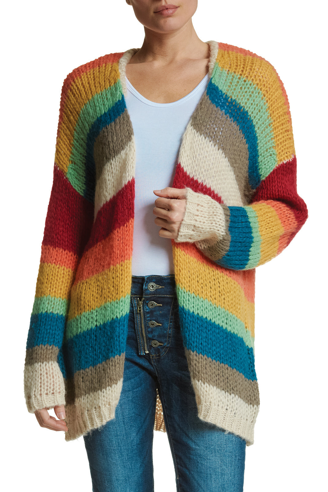 Rainbow Stripe Cardigan Sweater