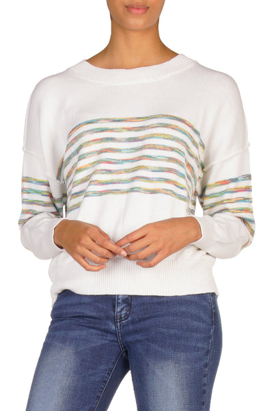 White Crew Neck Sweater with Rainbow Stripes