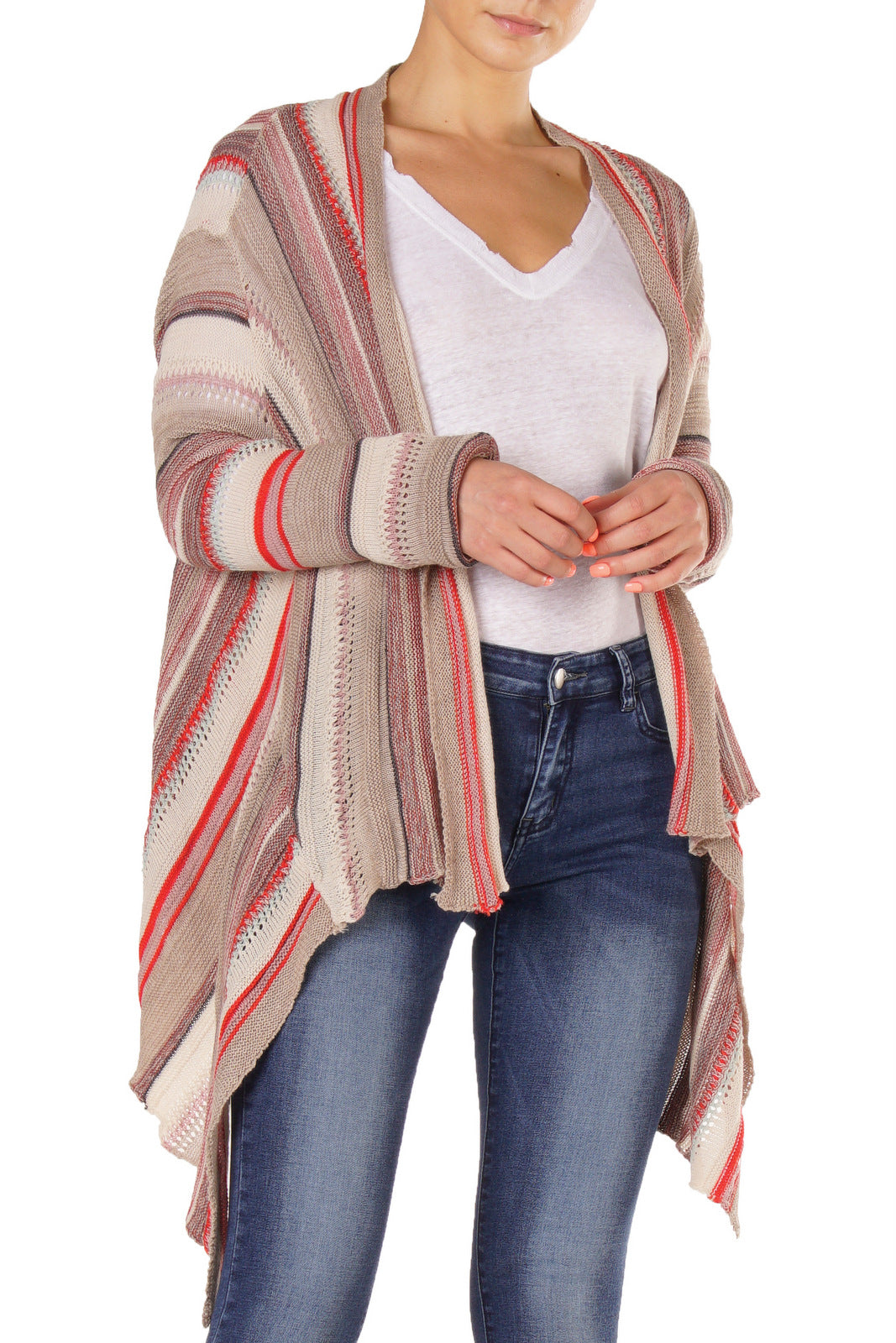 Multi-Stripe Lightweight Cardigan