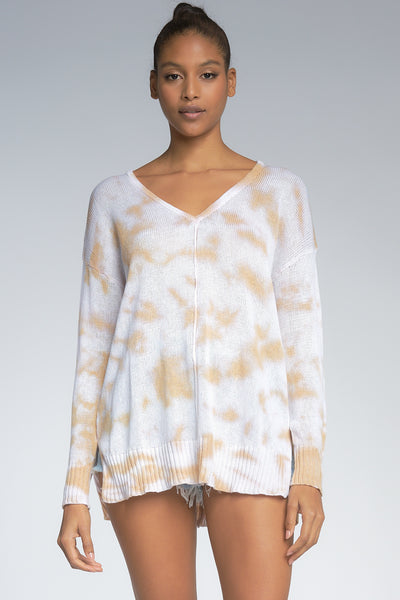 White and Tan Tie Dye V-neck Sweater