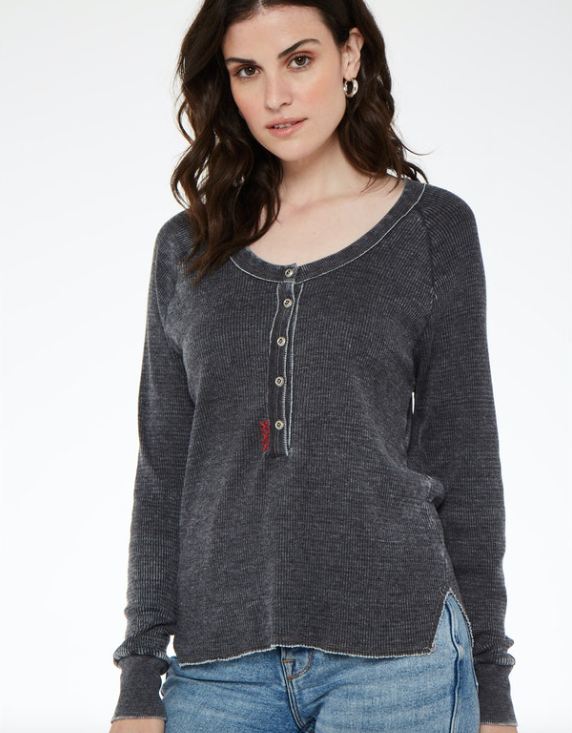 Charcoal Grey Burnout Henley