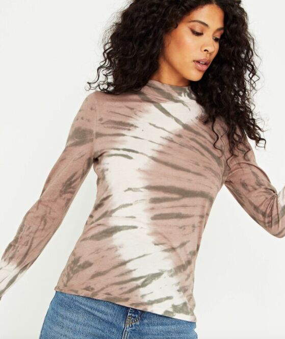 Tiger Tie Dye Slim Fit Mock Turtleneck