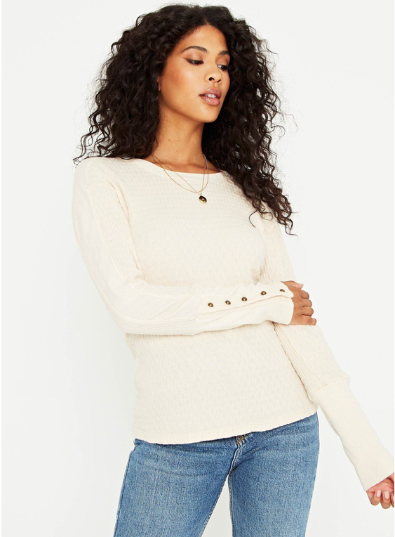 Ivory Contrast Panel Long Sleeve Top