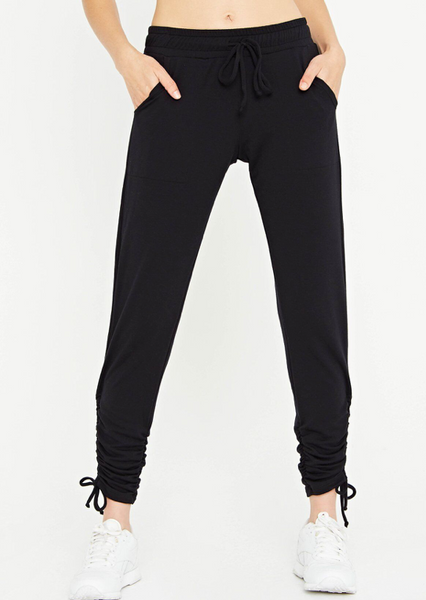 Black Side Cinch Jogger Pants