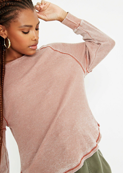 Salted Carmel Burnout  Thermal Henley Top