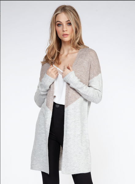 Taupe and Light Grey Color Block Open Front Cardigan Sweater