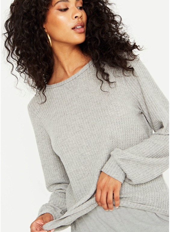 Heathered Grey Long Sleeve Thermal Top