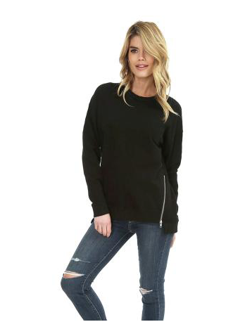 Black Step Hem Zipper Sweatshirt