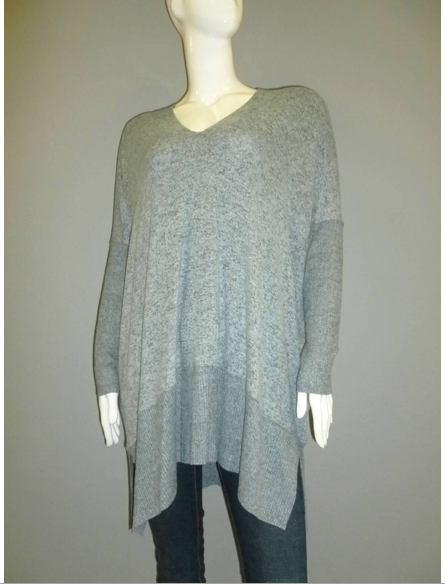 Heathered Grey Brushed Jersey Oversized Tunic