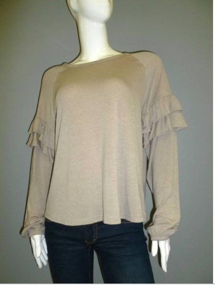 Taupe Long Ruffle Sleeve Top