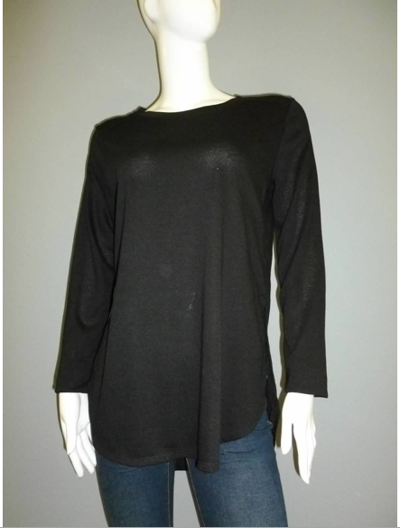 Black Long Sleeve Terry Top