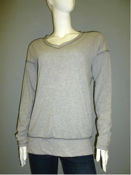 Grey Long Sleeve Raw Edge V-Neck Top