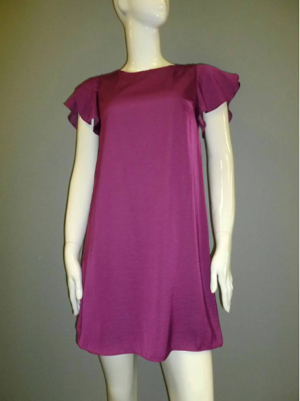 Magenta Satin Ruffled Sleeve Dress